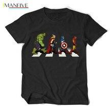 2019 Summer Newest The Avengers Men T Shirt Avenger Road Superhero Design T-Shirt 100%Cotton Short Sleeve Tops Tees Cool Clothes