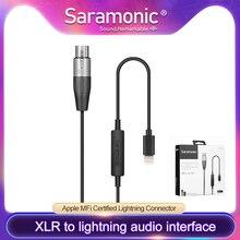 Saramonic LC XLR 3 Pin XLR (dişi) mikrofon yıldırım mikrofon adaptörü için iphone 7, iphone 7 artı, iPhone X, iPhone 8,iP