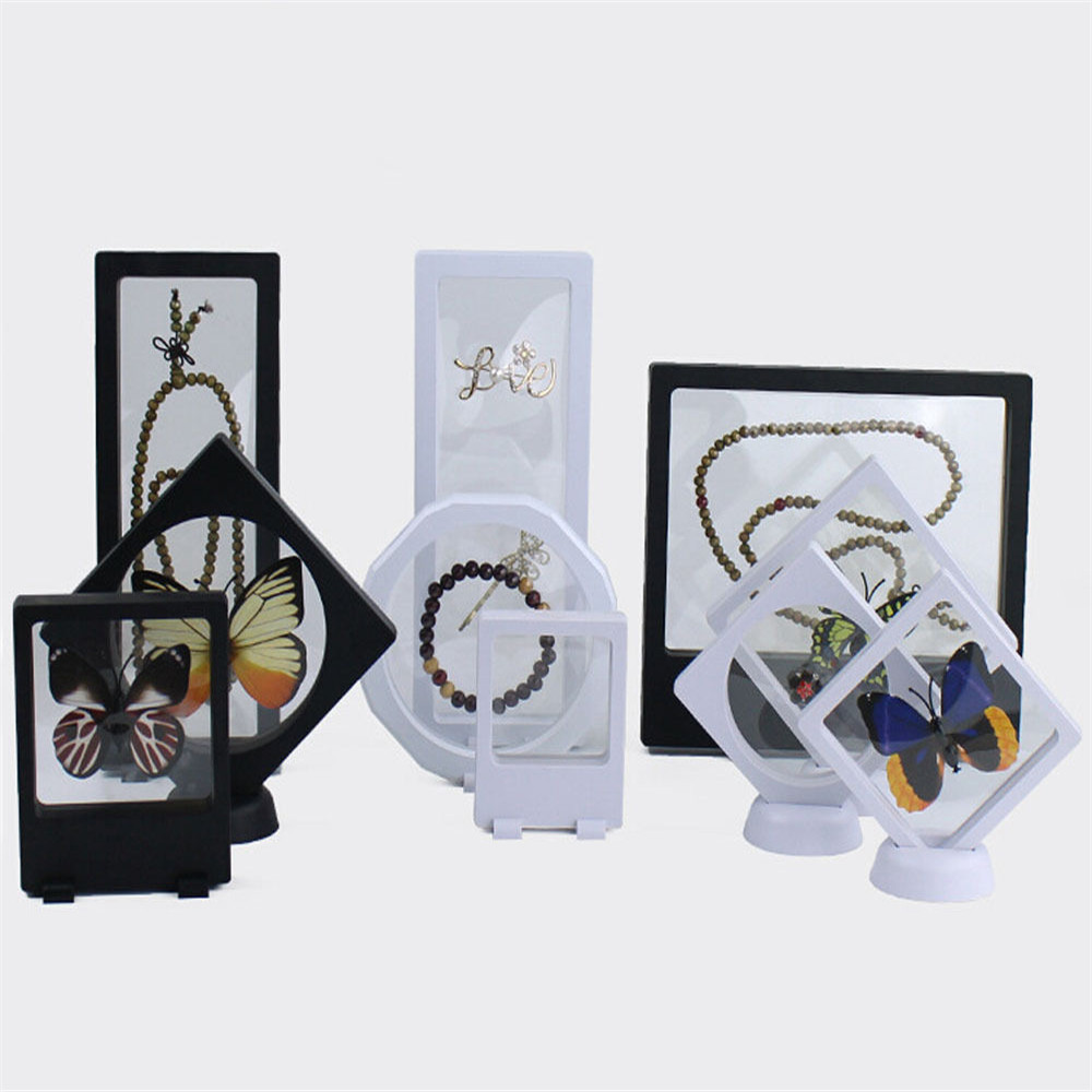 New Fashion ABS Cases Displays Square 3D Albums Floating Frame Holder Black White Coin Box Jewelry Display Show Case For Wedding