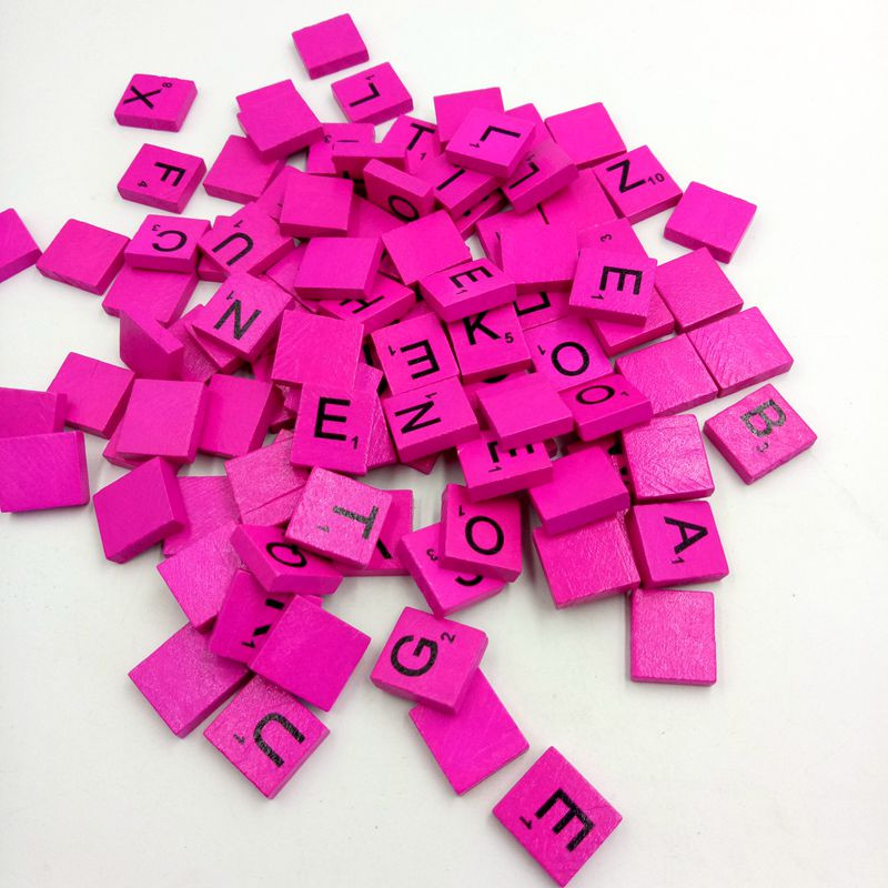 Good Quality More Colors 100 Wooden Scrabble Tiles Black Letters Numbers For Wood Alphabets For Children Educational Devepment