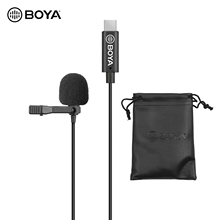 BOYA Omnidirectional מיקרופון יחיד ראש Lavalier דש מיקרופון מיקרופון עם 6 מטר כבל תואם עם USB סוג C ממשק