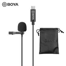 Всенаправленный микрофон BOYA с одной головкой, петличный микрофон с отворотом, микрофон с кабелем 6 метров, совместим с интерфейсом USB Type C