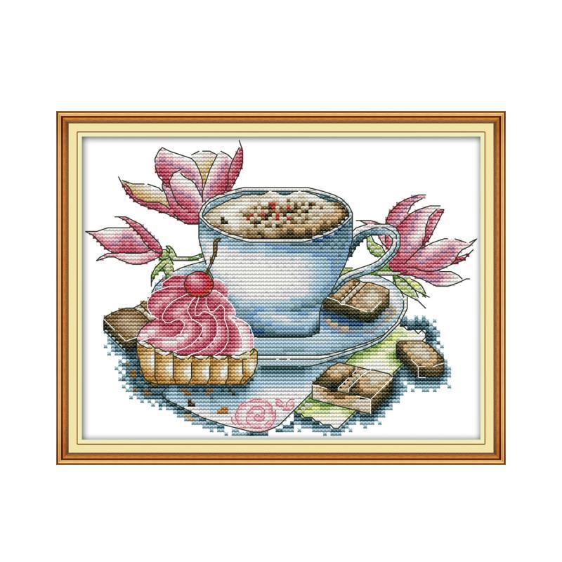 Teacups On Shelves Chart Counted Cross Stitch Patterns Needlework DIY DMC