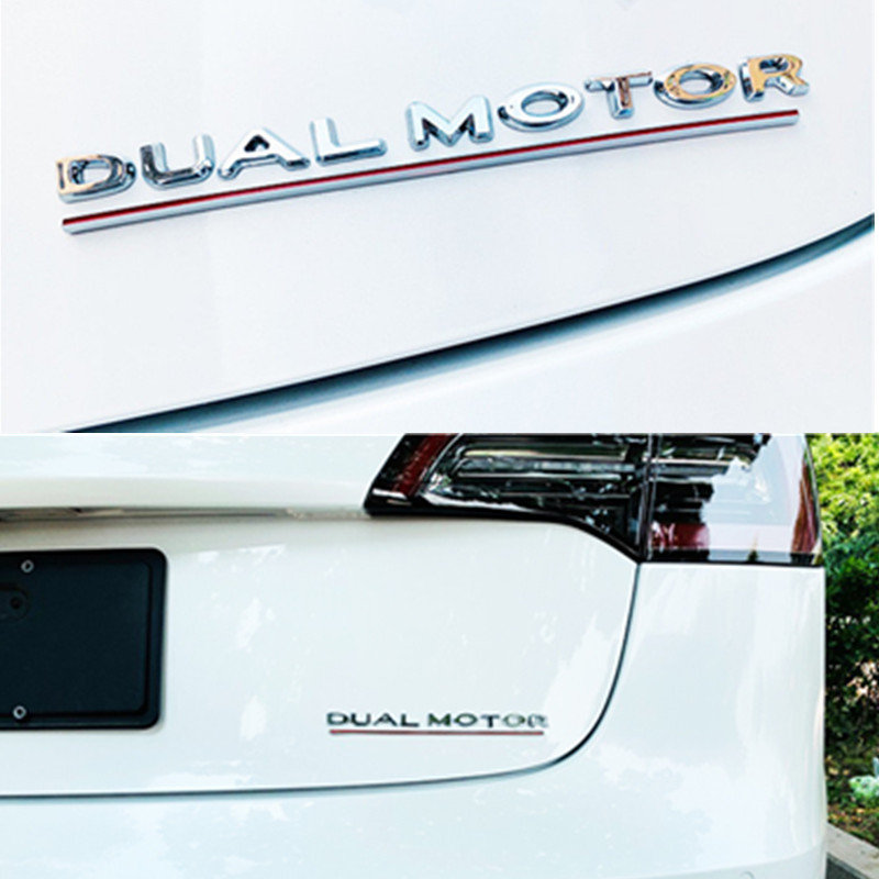 For Tesla Model 3 Dual Motor Decals 3D Chrome ABS Car Rear Trunk Emblem Sticker Badge Modification Sticker Styling Accessories