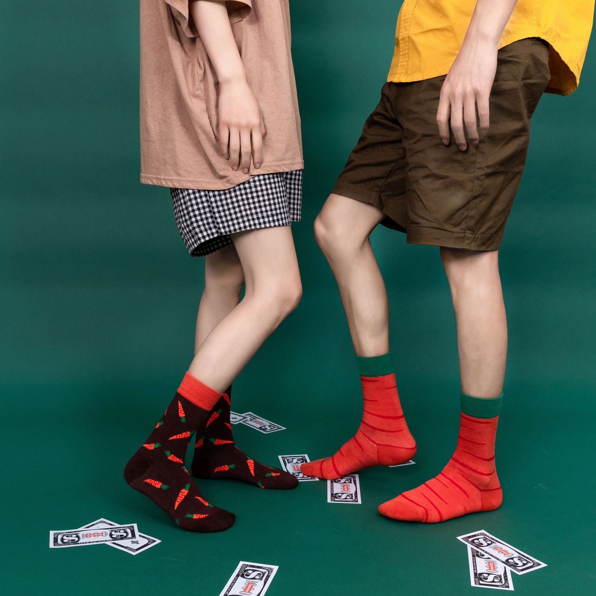 New European American Colorful Watermelon Fruit Socks Couple Casual Street Wear Pure Cotton Stockings Men Socks Women  Harajuku