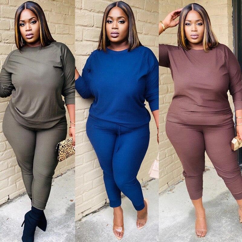 Plus Größe aktive tragen frauen einfarbig zwei stück set langarm tops t lange hosen anzug schweiß anzug trainingsanzug weibliche outfit
