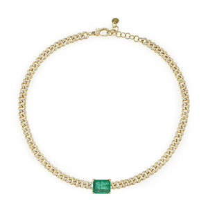 Image 2 - Big green baguette cz Miami Cuban link chain necklace for women iced out bling cz chain choker 32+8cm