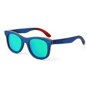 New fashion Retro Wood Women sunglasses men high grade Brand Design Peacock blue Polarized sunglasses Beach Bamboo eyeglasses(China)