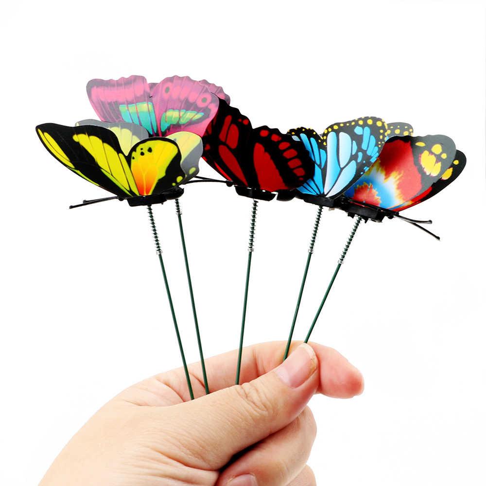5 шт/Букет Красочные бабочки колыбели бабочки цветочные горшки украшение для дома с ворсом Садовые принадлежности Открытый Декор