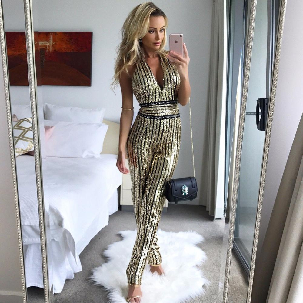 2020 Women Gold Sequin Jumpsuit Women Sexy Party Suit V Neck Backless  Women Clubwear Bodysuit Overalls Evening Party Gold