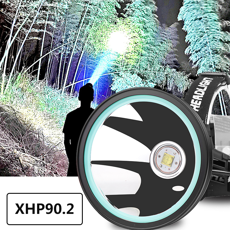 Xhp90.2 Led Headlamp White Yellow Color Headlight Head Lamp Flashlight Torch 32W Bulbs 3* 18650 Battery Power Bank 7800mah Light