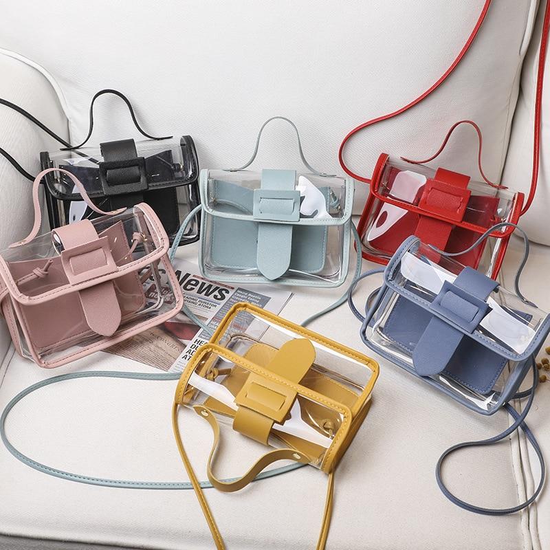 2020 Spring Summer Fashion Womens Transparent Square Sling Bag Cool PVC Shoulder Bag Messenger Bag Mobile Sweet Lady Bag