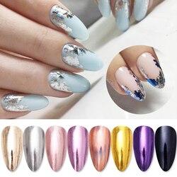 Mirror Metallic Nail Foils Laser  Nail Slider Adhesive sparkly Transfer Sticker  idea nail Art Decoration