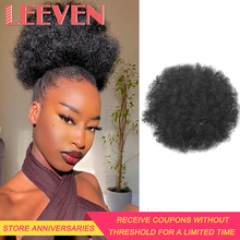 Hair-Bun Wig Ponytail Afro Synthetic-Puff Curly Chignon Short Leeven Clip-In Drawstring