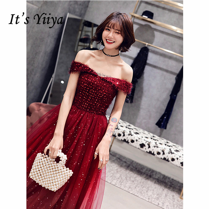 It's Yiiya Evening Dress 2019 Burgundy Boat Neck Sequins Party Long Dresses Elegant Off Shoulder A-Line Robe De Soiree E1291