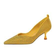 цены New Rhinestone Prom Shoes Crystal Shoes Ladies High Heels Women Sexy Ladies Pumps Women Shoes Diamond High Heel K0326