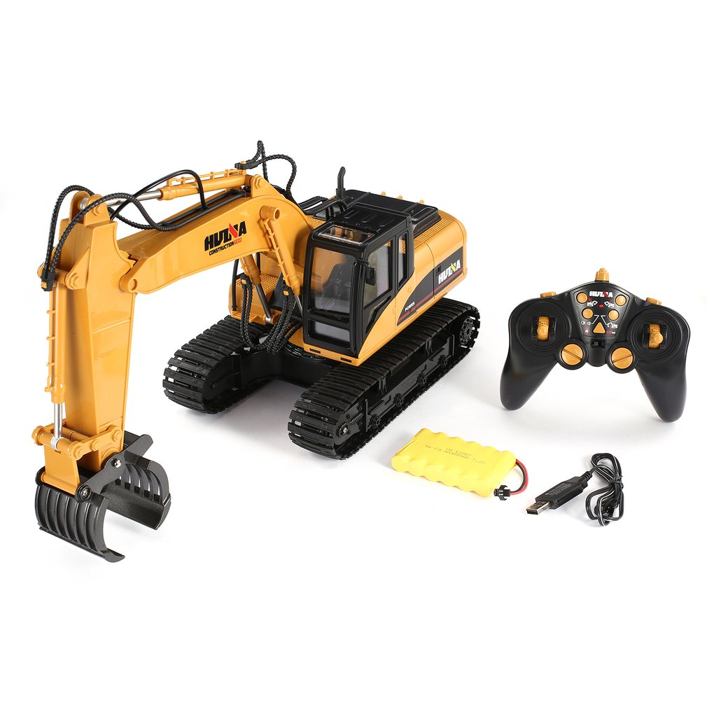 HUINA 1570 1/14 2.4G RC Timber Metal Grab Wood 16ch Engineering Crawler Truck Toy RTR Car Construction Vehicle With Light Toys