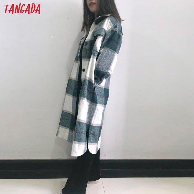 Tangada-veste Long à carreaux vert pour femmes, manteau chaud à la mode, pardessus chaud AI35, 2020, automne hiver, décontracté 4