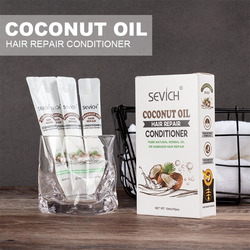 Sevich 10pcs/box Organic Coconut Oil Hair Mask Hair Care 5pcs Deeply hydrating Repair Damage Conditioner ortable for travelling