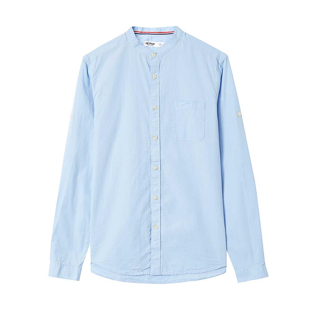 Metersbonwe marca nova camisas casuais primavera outono masculino magro manga longa camisas de algodão regular masculino adolescente topos
