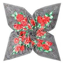 130cm camellia Print Brand Scarf 100% Silk Twill Scarf For Women Square Scarves Flower Hijab Kerchief For Ladies Shawl
