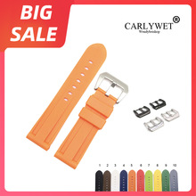 CARLYWET 22 24mm TOP Quality Brown Grey Waterproof Silicone Rubber Replacement Watch Band Loops Strap For Panerai Luminor carlywet 22 24mm top quality luxury camo waterproof silicone rubber replacement wrist watch band loops strap for panerai luminor