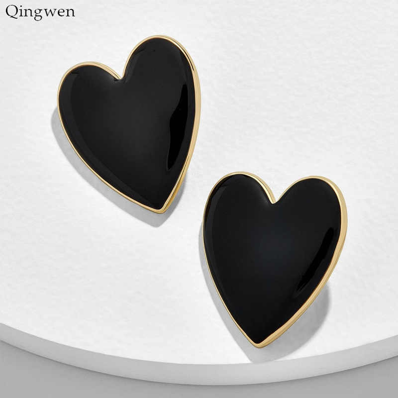 Qingwen New 2019 Fashion Big Heart Stud Earrings for Women Black Whtie Yellow Big Metal Statement Earrings Wedding Jewelry Gifts