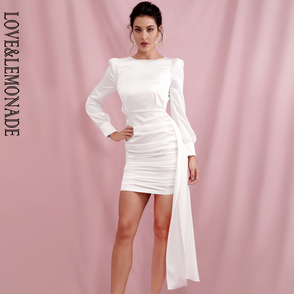 LOVE & LEMONADE White open back streamer stitching reflective fabric long sleeve mini dress spring LM82216 image
