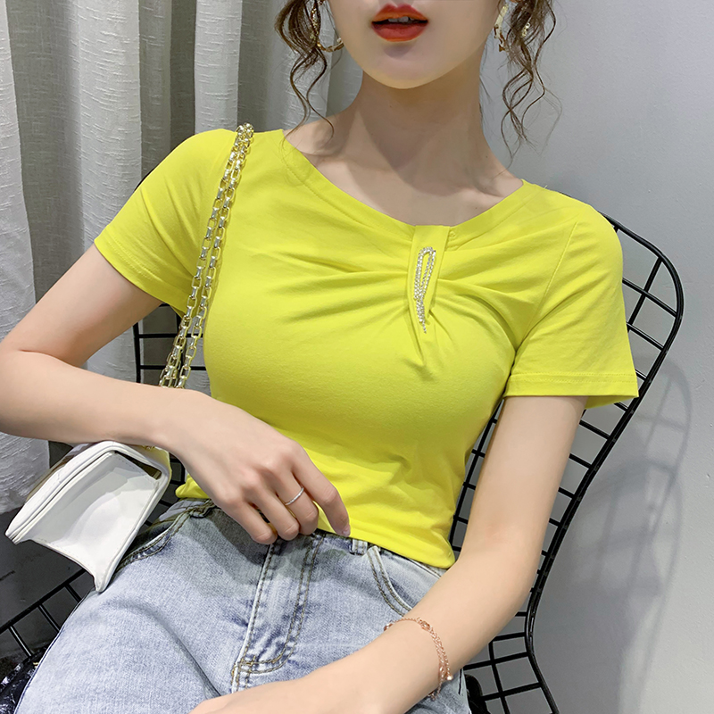 2020 New Summer Sexy V-Neck Solid T-shirt Women Cotton Tops Korean Clothes Slim Short Sleeve Shirt Camiseta Mujer Tees T01902