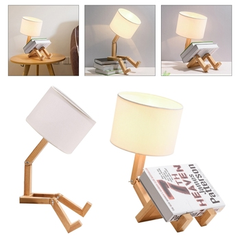 Creative Robot Shaped Table Lights Living Room Flexible Wooden LED Table Lamps 35ED 1