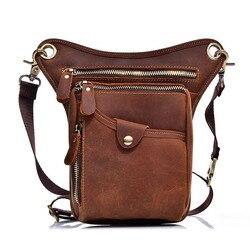 2019 neue Echtem Leder Taille Packs Tasche Vintage Männer Taille Packs Gürtel Tasche Telefon Beutel Reise Taille Pack Männlichen Kleine brieftasche