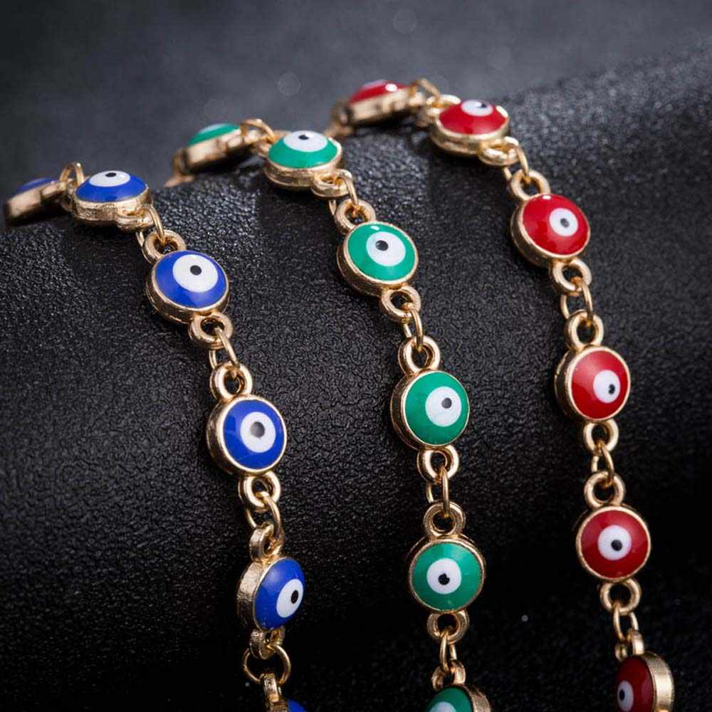 2020 niebieskie oczy szczęśliwe bransoletki Charm Chain bransoletka dla kobiet Unisex stop cynkowy niebieski szczęście erotyczne oko turcja bransoletka