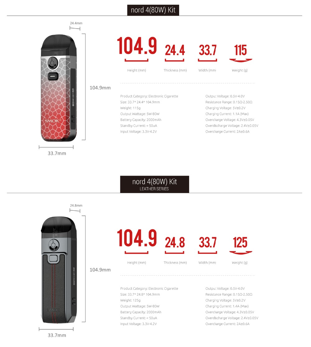 Original SMOK Nord 4 KIT 80W Electronic 2000mAh Battery Nord4 Pod 3ml RPM RGC Heater Resistance Core VS NORD X 2
