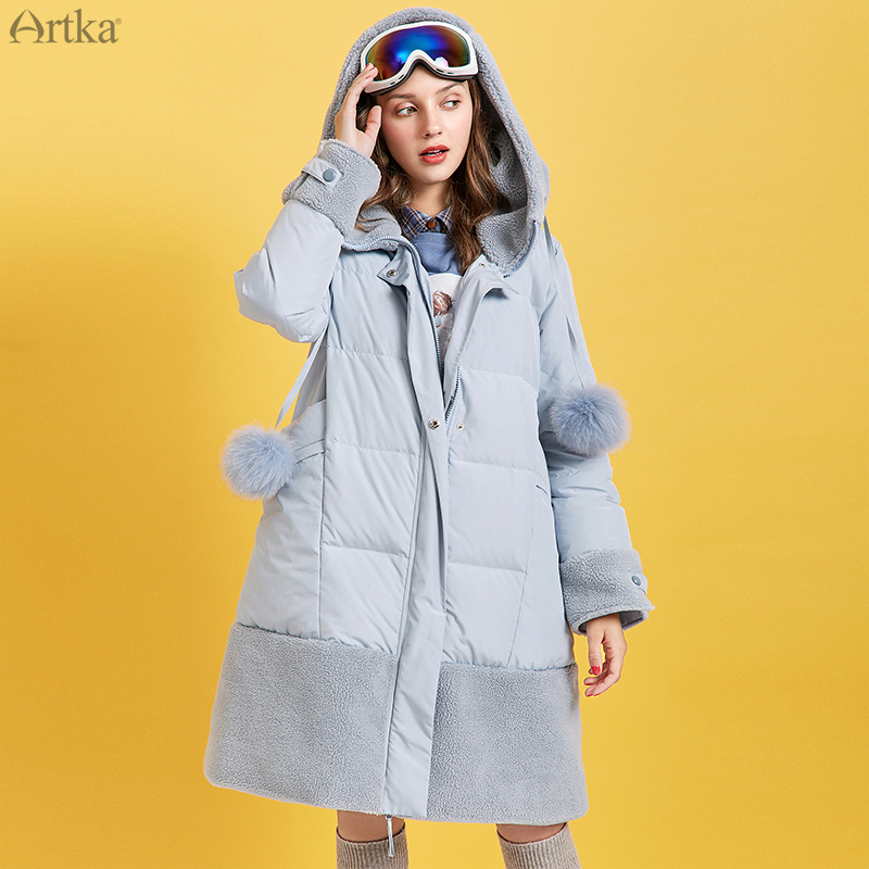 ARTKA 2019 Winter New Women's Down Coat 90% White Duck Down Thick Warm Outwear Lambswool Splicing Hooded Long Down Coat ZK10791D