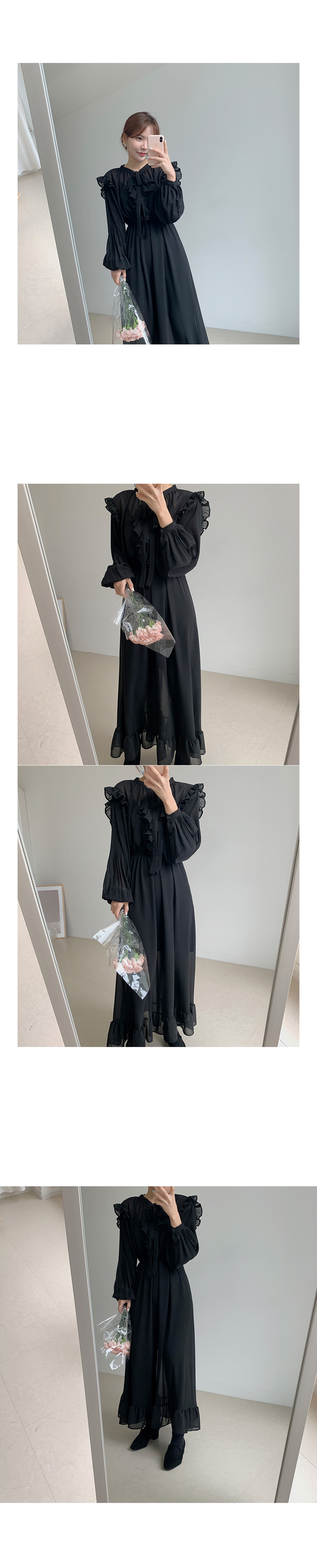 H5e2b84a80e8d41bdb49710f9b7e54fc7G - Autumn O-Neck Long Sleeves Chiffon Ruffles Maxi Dress