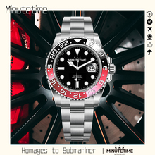 Minutime NH35 Movement Automatic Diving Watch Luminous 100m Waterproof Sapphire Stainless Steel Date Diver Sapphire Glass Gmt