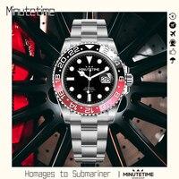 Minutime-Reloj de buceo mecánico automático NH35, de acero inoxidable, resistente al agua, con zafiro, 100m, verde luminoso