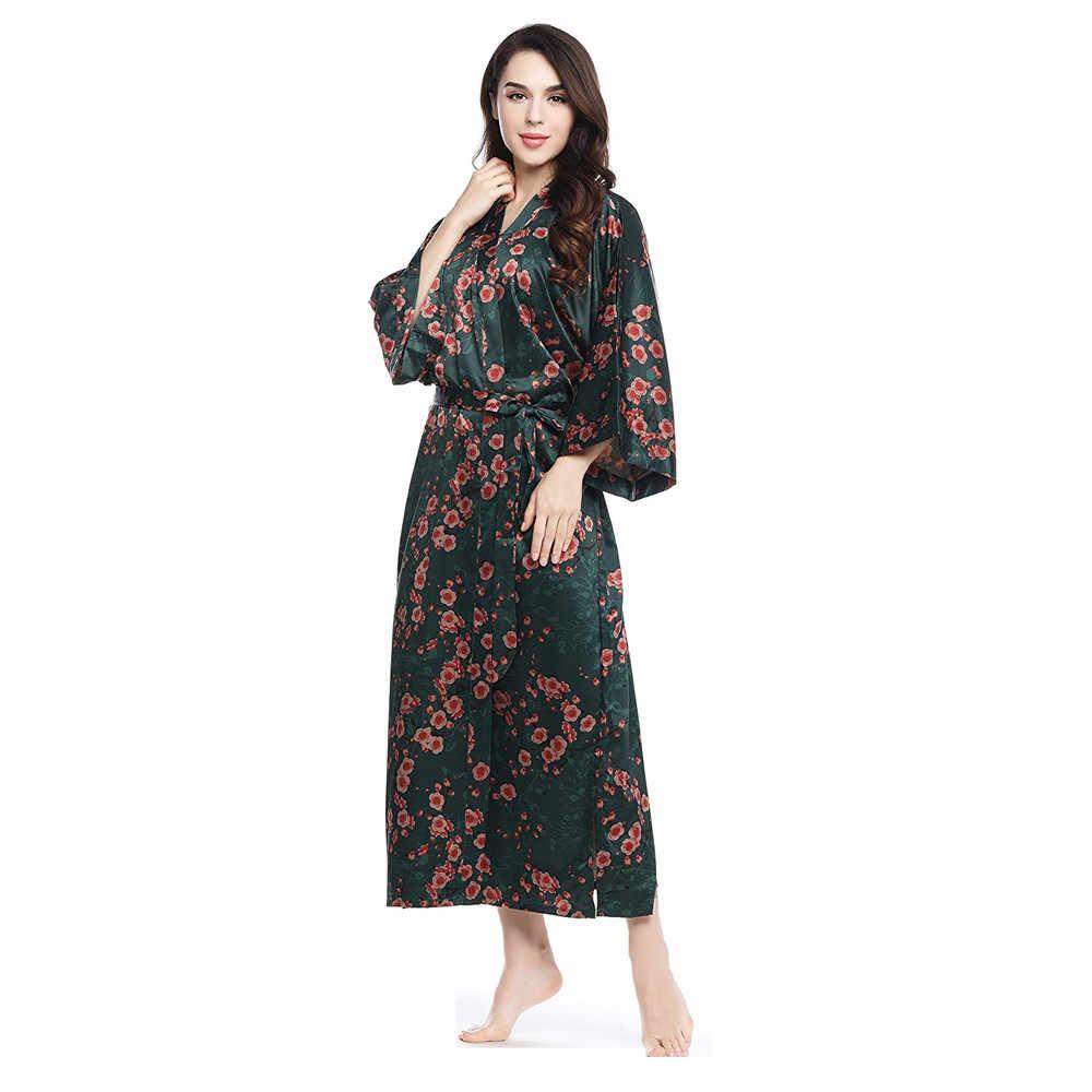 Chất Lụa Plus Kích Thước Phụ Nữ Trung Quốc Áo Dây Vintage In Kimono Áo Choàng Tắm Mặc Nhà Áo Choàng Dài Váy Ngủ Xanh Hoa Đồ Ngủ
