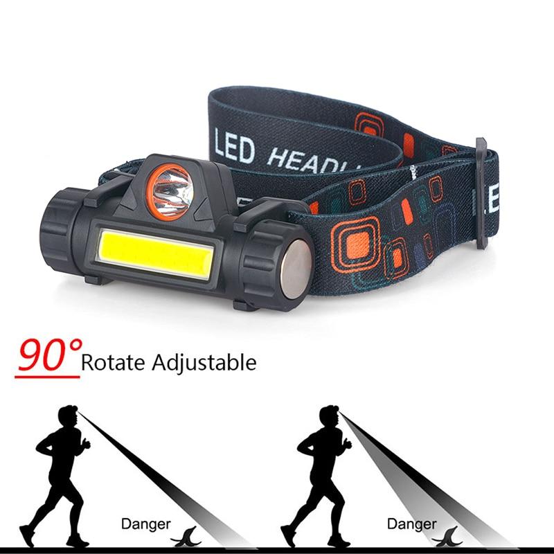 cheapest Sensor XP-G Q5 Headlamp Head Lamp Headlight Waterproof 2500lm Cob Led Built in Usb Rechargeable 18650 Battery Working Light 5w