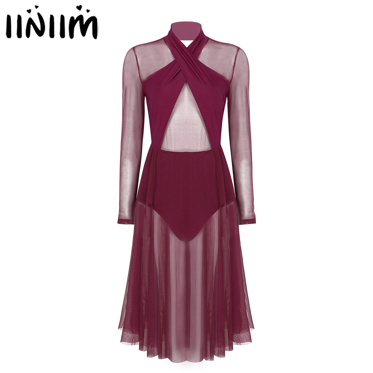 Women Adults Ballerina Costumes See Through Sheer Mesh Top Bodice Leotard Dress For Gym Lyrical Modern Contemporary Dancewear