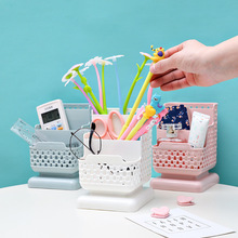Office Organizer Desktop Pen Storage Box Pencil Brush Pot Holder Makeup Plastic Container Sundries Desk