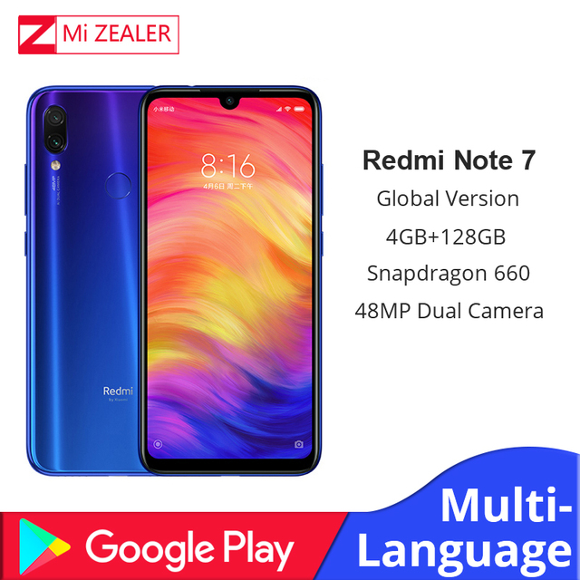 "Global Version Xiaomi Redmi Note 7 4GB+128GB Snapdragon 660 Octa Core 4000mAh 6.3"" 2340*1080 48MP+5MP Cellphone  Dual Cameras"