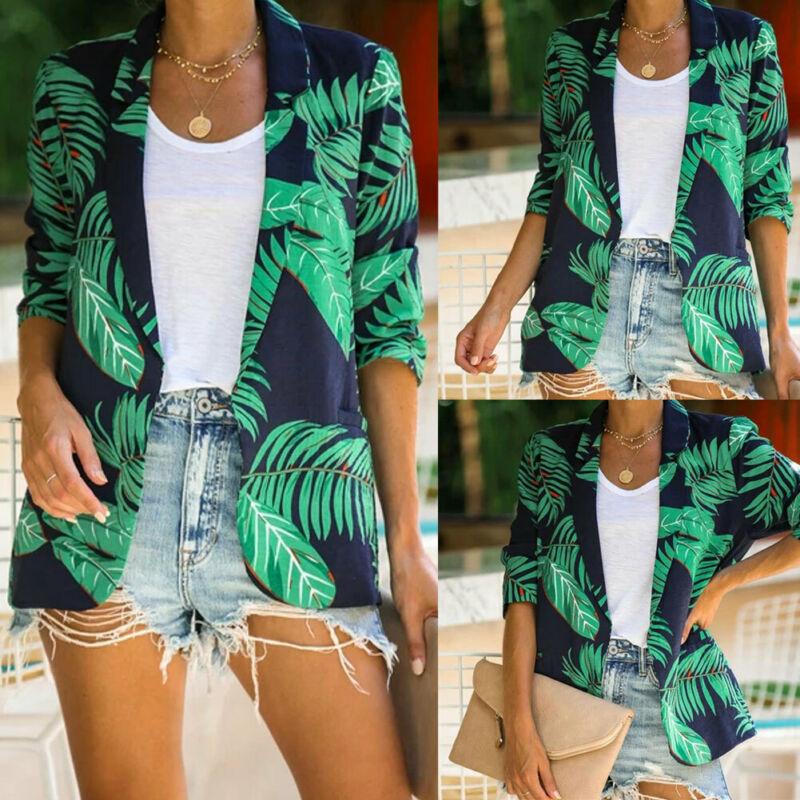 Fashion Women Cardigan Casual Lapel Blazer Suit Leaf Print Thin Coat Female Green Street Office Outwear