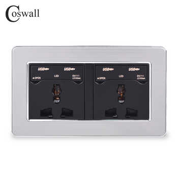 COSWALL 2 Gang 13A Universal Wall Power Socket + 4 USB Charge Port With LED Indicator Stainless Steel Panel With Dust-proof Lid - DISCOUNT ITEM  28% OFF All Category