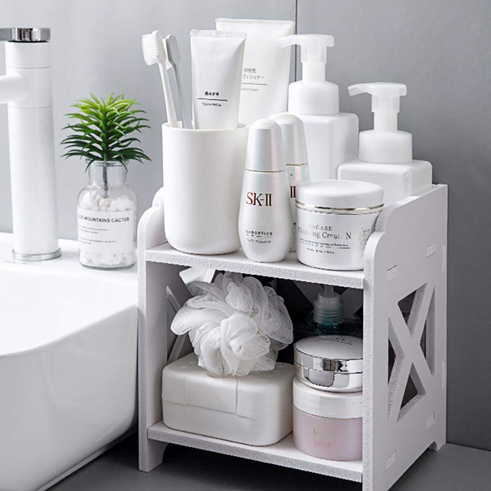 2 Layers Wood Storage Rack Cosmetic Storage Shelf Corner Racks Holder Kitchen Bathroom Organizer Tabletop Decor