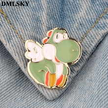 DMLSKY Cartoon Dinosaur Pins Enamel and Brooches Women Men Lapel Pin Backpack Badge Tie Hat Jewelry M3826
