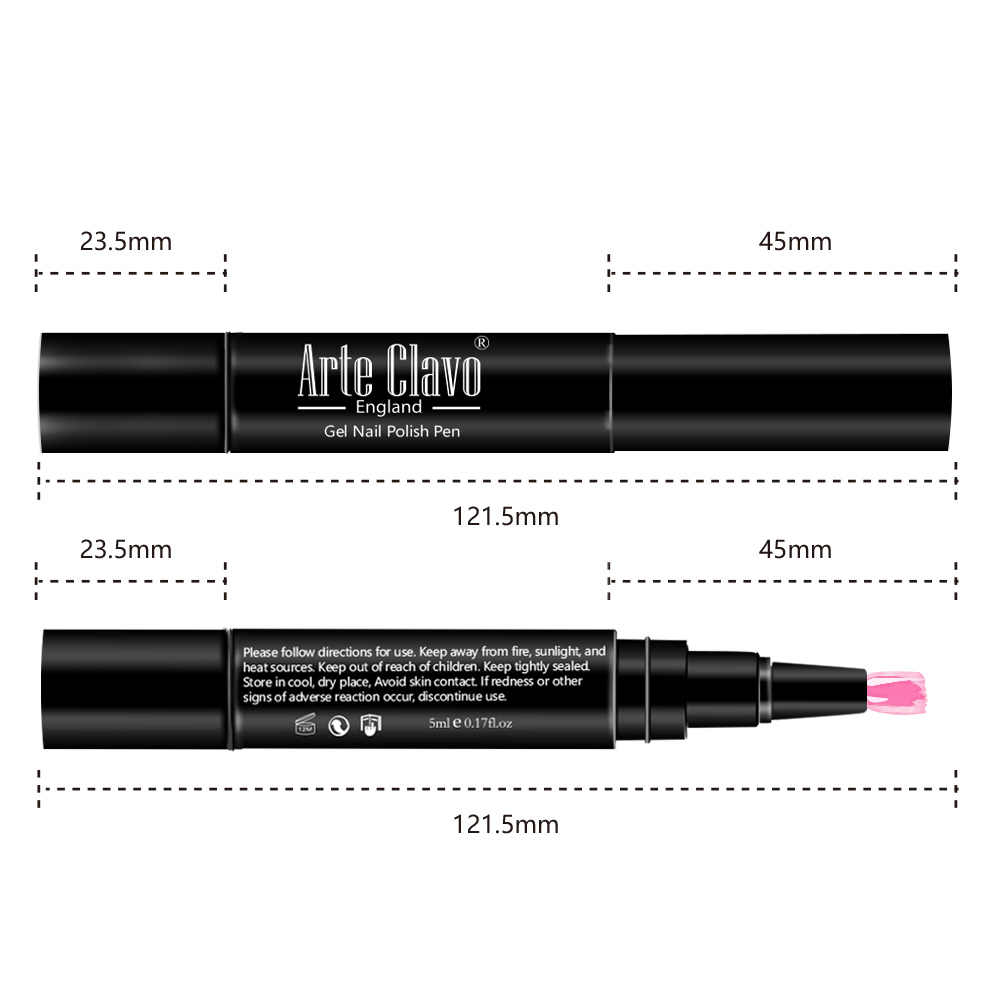 ARTE Clavo 5ml เจลเล็บปากกา Soak Off 60 สี Glitter HYBRID Home แต่งหน้า Nail Art เล็บชุด DIY 3 ขั้นตอน UV เคลือบเงาปากกา