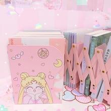 New Sailor Moonพับเก็บได้Bookendหนังสือผู้ถืออะนิเมะAction Figure Iron BookshelfสำหรับHome Desktop Decor