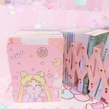 Nowy Sailor Moon składany Stretch Bookend książki uchwyt Anime figurka żelaza czytanie regał uchwyt na blat Decor
