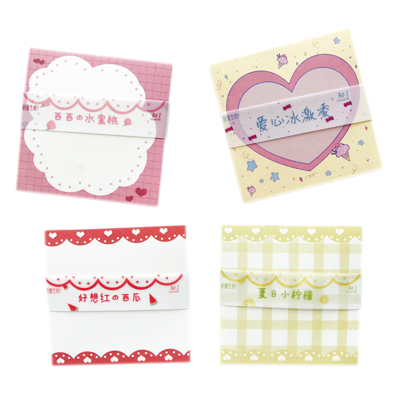 30 Pages/Pack Cute Summer Fruit Lemon Peach Ice Cream Memo Pad Paper Notepad School Office Supply Student Stationery Kid Gift